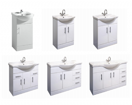 White Gloss Bathroom Vanity Furniture Unit & Basin (with tap options)